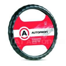 Оплетка руля AUTOPROFI кожа ребристая черная M AP-265 BK 810314