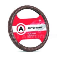Оплетка руля AUTOPROFI кожа гладкая,глянцевая, ребристая коричневая(М) АР-765 BR 194745 194755